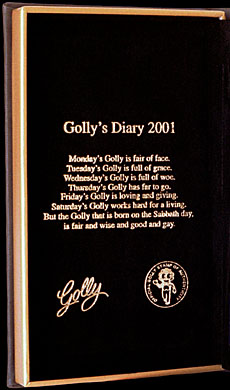 Inside Cover of Golly's Diary 2001