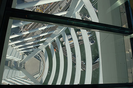 Looking through the glass floor of Spinnaker Tower