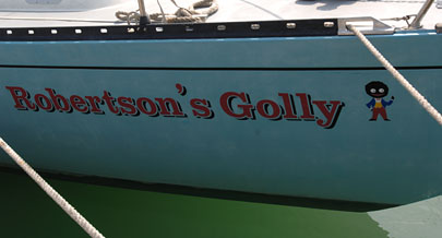 Name and logo on side of the yacht
